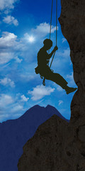 ag2 AlpinistGraphic - climber 1 in the alps - clouds - g2382