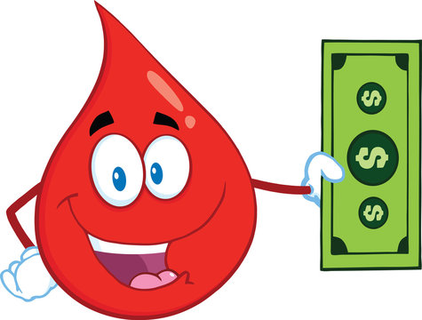Happy Red Blood Drop Character Showing A Dollar Bill