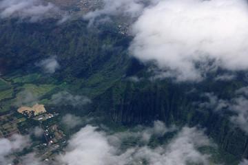 Aerial view of clouds over Waimanalo Farm lands, koolau mountain