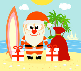 Tropical Christmas background with Santa Claus ,vector