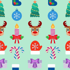Seamless Christmas colorful background. Flat design. Vector