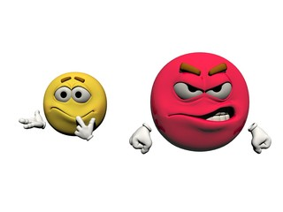 angry and perplexed emoticons  - 3d render