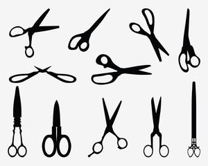Black silhouettes of different scissors, vector illustration
