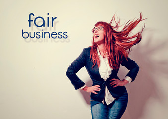 businesswoman is laughing loud - business rocks 3