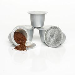 Single-serve coffee capsules isolated