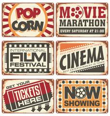 Set of vintage cinema metal signs