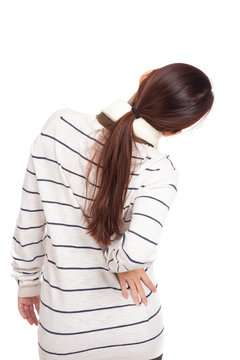 Back of Asian girl with scarf got back pain