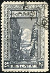 stamp printed in Turkey shows Gorge of the Sakarya River