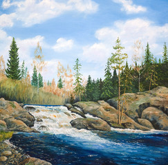 Oil painting on canvas. Waterfall