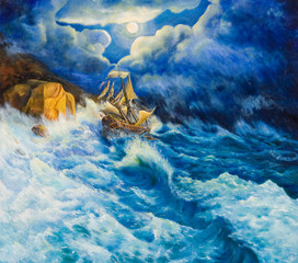 Oil painting on canvas. Shipwreck