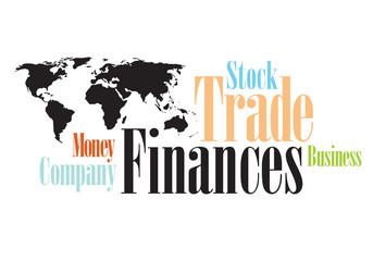 Word Cloud Financing wording with map