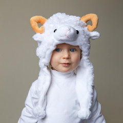 Baby with sheep hat New Year 2015