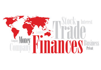 Red Word Cloud with Financing wording