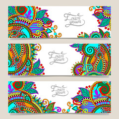 Set of three horizontal banners