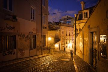 Calcada da Gloria Street at Night in Lisbon
