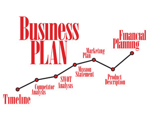 Business plan red timeline and dark color chart