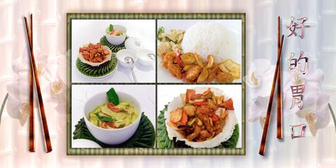 Asiatische Speisen mit fernöstlichen Hintergrund