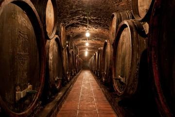 Fototapete - Barrels in a hungarian Wine cellar