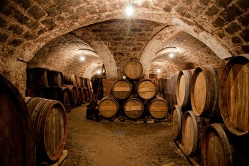 Wall Murals Vineyard Barrels in a hungarian wine cellar