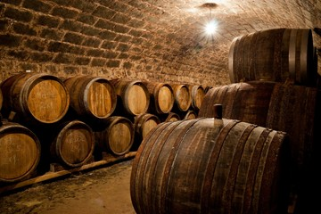 Wall Mural - Barrels in a hungarian wine cellar