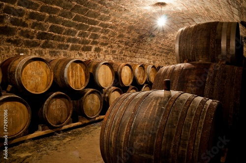 Wall mural Barrels in a hungarian wine cellar