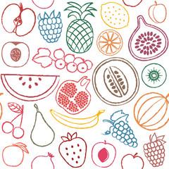 Hand drawn fruit seamless pattern background 3