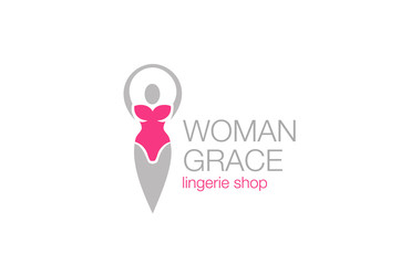 Woman grace fitness diet logo design vector