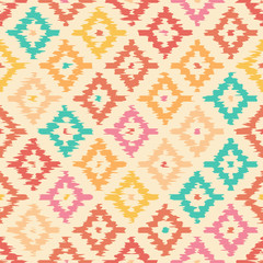 Colorful geometric seamless pattern made ​​in ikat technique