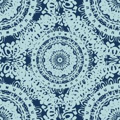 Seamless doily watercolor vector gzhel pattern. Decorative ornam