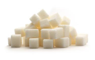 Cubes of white sugar