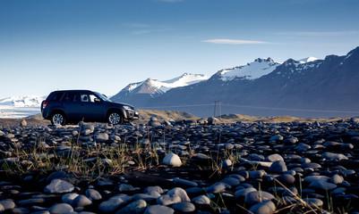 Generic SUV car in Icelandic badlands