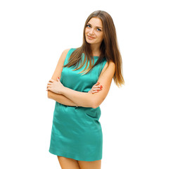 Fashion, beauty and people concept - pretty smiling woman in gre