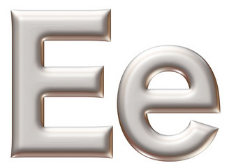 Letter E from silver alphabet on isolated white.