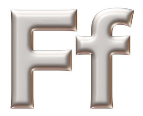 Letter F from silver alphabet on isolated white.