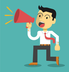 Business man cheer with a megaphone. Vector flat illustration