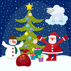 funny cartoon winter holidays set
