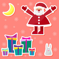 funny cartoon winter holidays set with cute Santa