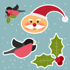 funny  winter holidays background with cute Santa