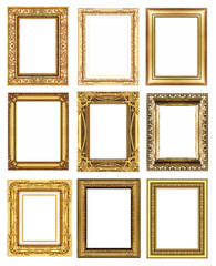 set 9 of vintage gold frame isolated on white background.