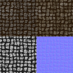 Pavement seamless generated texture (with diffuse, bump and norm