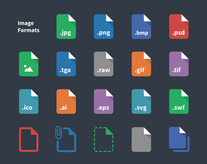 Set of Image File Labels icons.