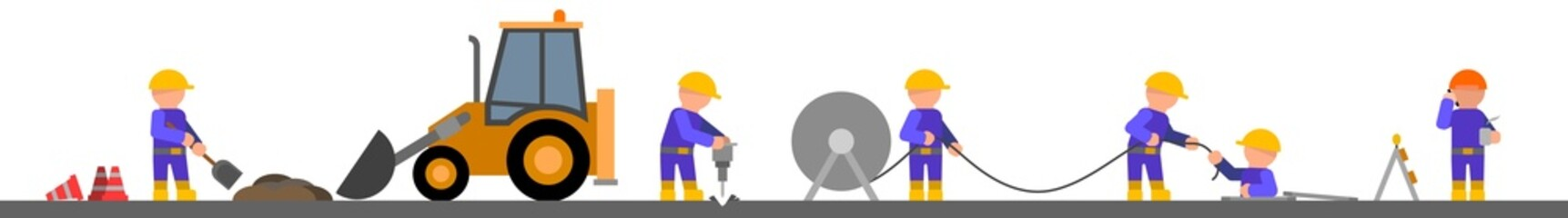 Road works - vector illustration on white background