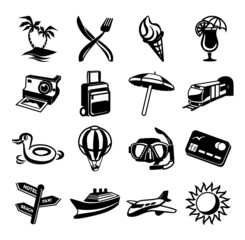 Vector travel black icon set