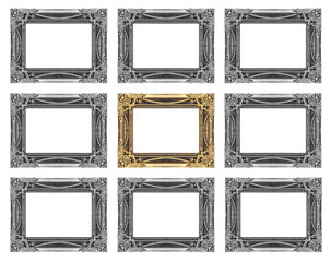 set 9 of vintage gold - gray frame isolated on white background.