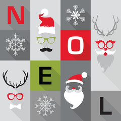 Christmas Retro Card - with Santa hats, masks - in vector