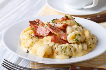 potato gnocchi with cheese and bacon. close up