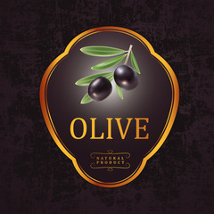 Vector black olives with leaves For labels, packaging.