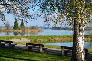 Parkbänke am See - sonniger Herbst