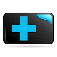 premiers secours sur bouton web rectangle bleu