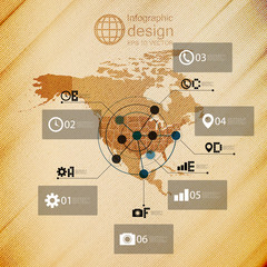 North america map, infographic design illustration, wooden
